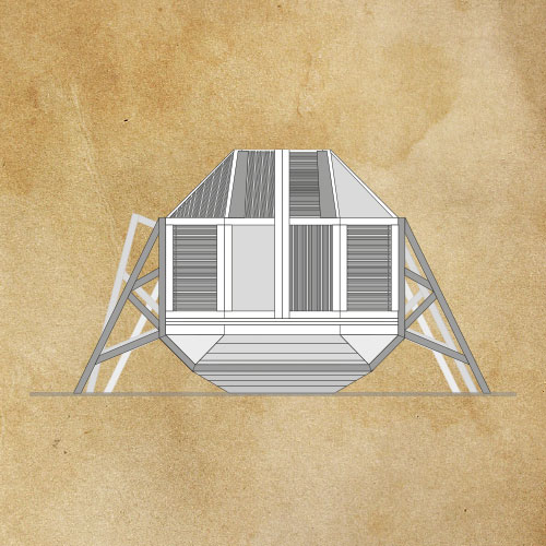 Ronnie Kommene technical drawing of the front of the Bedbug